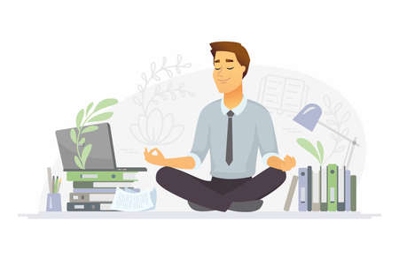 Mindfulness - modern vector cartoon people characters illustration on white background. A composition with a businessman meditating in lotus position at work in the office, trying to release stress Ilustração