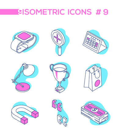 Business and finance - line design style isometric objects Illustration