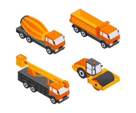 Construction Vehicles - modern vector isometric colorful elements. High quality objects, orange colored dump, truck, cement mixer, crane. Heavy machinery to build cities, streets, towns Illusztráció
