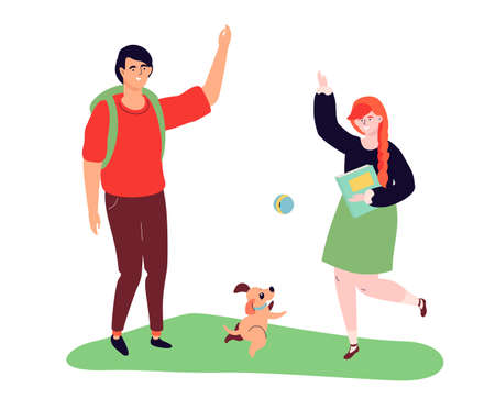 Teenagers playing with a dog - modern colorful flat design style illustration on white background. High quality composition with a boy and a girl Иллюстрация