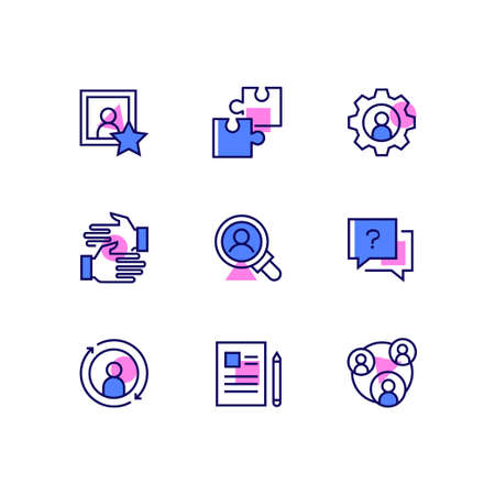 Business and management - line design style icons set. Images of puzzle pieces, gear, handshake, magnifying glass, question mark, refresh symbol, paper and pen, team. Human resources concept