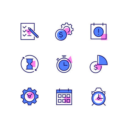 Business and management - line design style icons set. High quality collection with a check list, gear, calendar, hourglass, stopwatch, diagram, clocks, dollar coin, deadline symbol