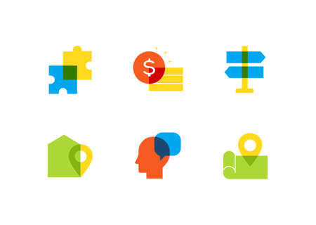 Business and finance - flat design style icons set Stock Illustratie