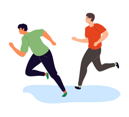 Boys running - colorful flat design style illustration on white background. High quality composition with two young men on a competition, one is winning. Active lifestyle, sport concept 向量圖像