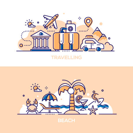 Travelling and beach - modern line design style illustrations. A collection of two compositions with baggage, architecture, plane, taxi, passport, tickets, palm, cocktail, carb, surfer, sea, umbrella