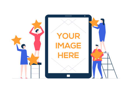 Company rating - flat design style colorful illustration. A creative team, man and woman holding stars, assessing a service, business. A tablet with place for your image on the screen. Feedback theme