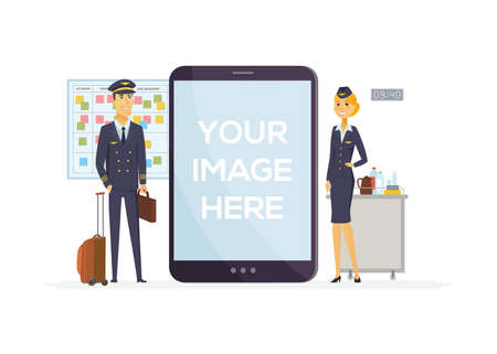 Pilot and flight attendant - cartoon people characters illustration on white background. Young smiling man and woman in typical uniform. Aviation crew. A tablet with place for your image on the screen