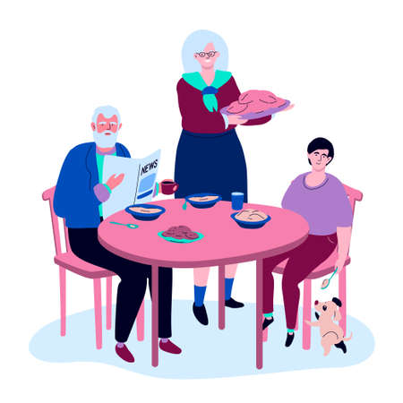 Family having dinner - colorful flat design style illustration. A composition with a teenager visiting his grandparents. Grandson and grandfather sitting at the table, grandmother serving the dish