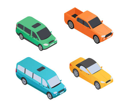 Vehicles Types - modern vector isometric colorful elements isolated on white background. High quality set of different cars for creating your design, pickup, minibus, limousine. Urban transport theme