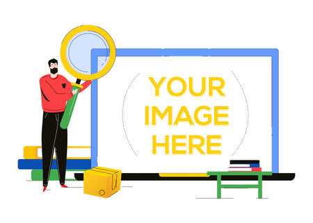 Search concept - flat design style colorful illustration on white background. A composition with a man holding a magnifying glass, books, box. A laptop with place for your image on the screen Иллюстрация