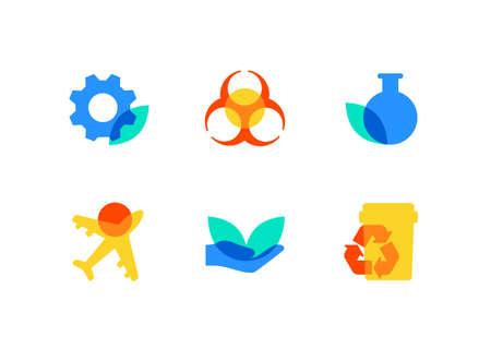 Eco lifestyle - flat design style icons set Banque d'images - 125624638