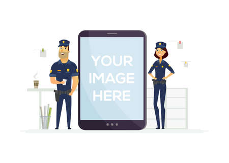 Police officers on duty - cartoon people characters illustration on white background. Young smiling man and woman in typical uniform with holsters. A tablet with place for your image on the screen