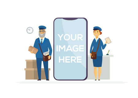 Post officers at work - cartoon people characters illustration on white background. A senior man and young woman in blue uniform holding carton parcels, letters. A smartphone with place for your image