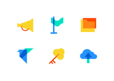 Technology and management - flat design style icons set on white background. High quality colorful images of a megaphone, flag, folder with a document, paper crane, key, cloud computing Çizim