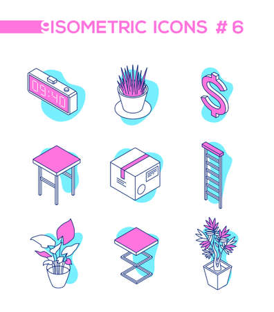 Workplace elements - line design style isometric objects isolated on white background. Quality blue, pink elements, electronic clock, parcel, ladder, plant, dollar sign, stool for creating your design