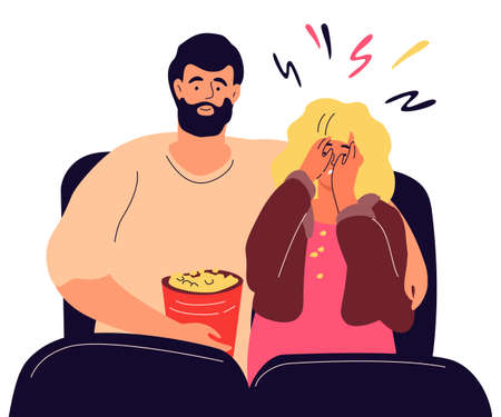Couple in the cinema - modern colorful flat design style illustration on white background. High quality composition with a boy and a girl watching a horror film, eating popcorn, a woman is scared  イラスト・ベクター素材
