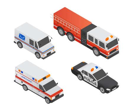 Véhicules de transport spéciaux - éléments colorés isométriques vectoriels modernes. Ensemble d'objets de haute qualité. Voiture de police, ambulance, camion postal, camion de pompiers. Notion de transport urbain Vecteurs