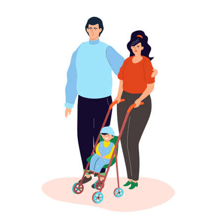 Family on a walk - colorful flat design style illustration on white background. High quality composition with a wife and husband, a happy couple and their cute kid in a cart