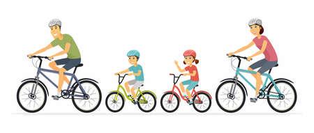 Genitori e bambini in bicicletta - illustrazione di personaggi dei cartoni animati su sfondo bianco. Madre, padre con bambini che vanno a fare un giro in bicicletta, divertendosi. Famiglia, concetto di stile di vita sano Vettoriali
