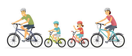 Parents and children cycling - cartoon people characters illustration on white background. Mother, father with kids going on a ride on bicycles, having a good time. Family, healthy lifestyle concept Ilustração