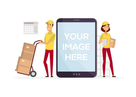 Delivery service workers - cartoon people characters illustration. Young smiling man and woman in yellow uniform holding carton parcels, boxes and a check list. A tablet with place for your image