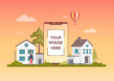 City life - flat design style vector illustration on orange background. A composition with a citizen walking, small buildings, trees, hot air balloon. A smartphone with place for your image on screen