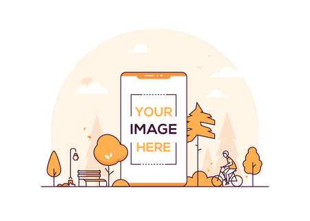 City park - modern thin line design style vector illustration on white background. Orange colored composition with a lantern, bench, trees. A smartphone with place for your image on the screen