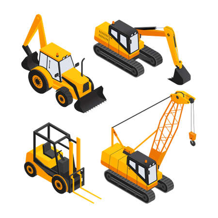 Construction Vehicles - modern vector isometric colorful elements. High quality objects, yellow colored forklift, crane, bulldozer, excavator. Heavy machinery to build cities, streets, towns Illustration