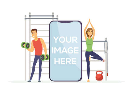 Fitness app - modern vector cartoon character illustration on white background. Composition with a man lifting dumbbells, girl practicing yoga. A smartphone with place for your image on the screen