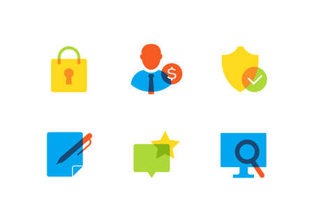 Business and safety - flat design style icons set