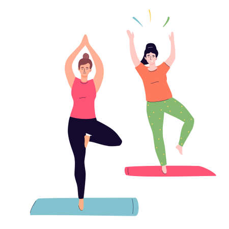 Yoga class - colorful flat design style illustration on white background. A composition with girls practicing. Young women standing in a tree pose on one leg, a beginner is falling. Healthy lifestyle