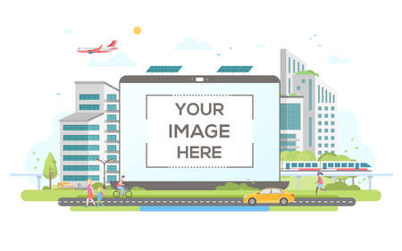 Eco-friendly housing complex - flat design style vector illustration on white background. Lovely cityscape with skyscrapers, solar panels, car, train, citizens. A laptop with place for your image