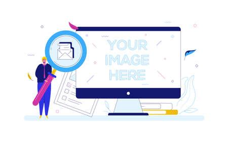 Concepto de búsqueda - ilustración colorida de estilo de diseño plano sobre fondo blanco. Un hombre que sostiene una lupa, en busca de un correo electrónico, lista de verificación. Una computadora con lugar para tu imagen en la pantalla Ilustración de vector