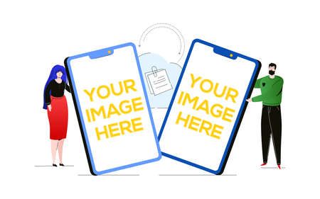 Sync between devices - colorful flat design style illustration on white background. A composition with a boy and a girl holding smartphones with places for your image, cloud refreshing information