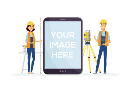 Geodesists at work - cartoon people characters illustration on white background. A man and woman in overalls with geodetic device, survey instrument, tachymeter. A tablet with place for your image Ilustracja