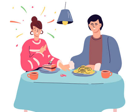Engagement - modern colorful flat design style illustration on white background. A scene with a couple sitting in a restaurant, a man giving a ring, making a proposal of marriage to a surprised girl Stock Illustratie