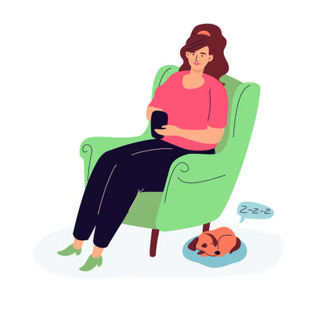 Woman chatting online - modern colorful flat design style illustration on white background. A composition with a cute girl sitting on a chair, holding her smartphone, a cute puppy sleeping at her feet
