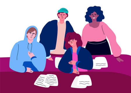 Students on a lesson - colorful flat design style illustration. High quality composition with happy international teenagers, classmates writing at the desks, studying the subject. Education concept