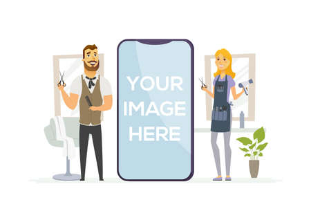 Male, female hairdressers - cartoon people characters illustration. Young man and woman holding barber tools, scissors, brush. Hairstylists in a beauty salon. A smartphone with place for your image