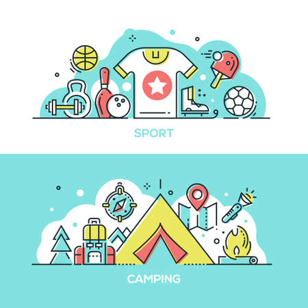 Sport and camping - modern line design style illustrations. A collection of two compositions with sportive equipment, dumbbells, skates, balls, table tennis rocket, tent, map, torch, backpack, compass