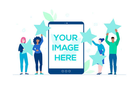 Company rating - flat design style colorful illustration on white background. A business team holding stars. A tablet with the place for your image on the screen. Customer review, feedback concept