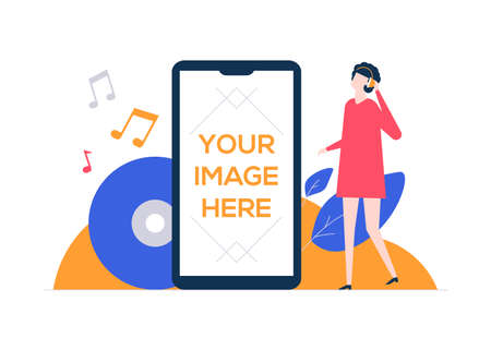 Listening to music - flat design style colorful illustration on white background. A composition with a female character, girl in headsets, vinyl records, notes. A smartphone with place for your image