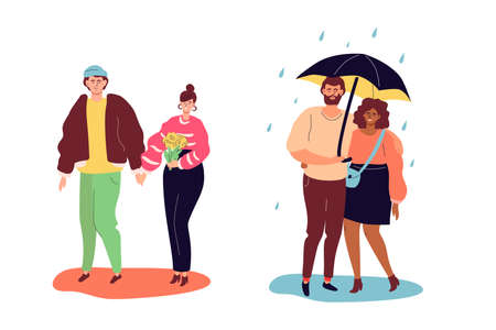 Couples on a date - colorful flat design style characters on white background. High quality scenes with a boy and a girl in casual clothes holding hands, standing under the umbrella on a rainy day Illusztráció