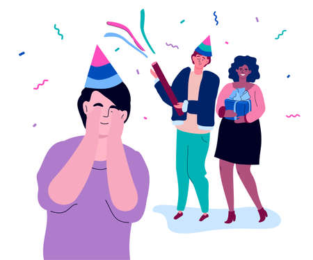 Happy birthday - modern colorful flat design style illustration on white background. High quality composition with a cheerful boy in a party hat with his eyes closed getting a surprise from friends