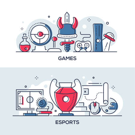 Games and esports - modern line design style illustrations Illustration