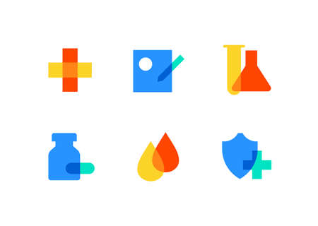 Healthcare and medicine - flat design style icons set. High quality colorful images of a cross, flasks, pills, drops, shield, receipt. Medical laboratory, insurance, pharmacy, clinic symbols Illustration