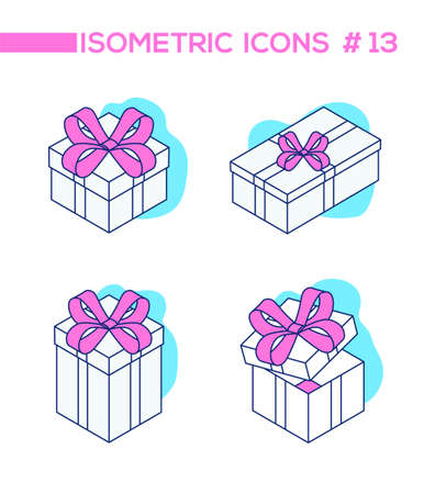 Set of presents - line design style isometric objects isolated on white background. High quality collection of blue, pink elements, closed, open gifts, boxes with ribbons. Party, celebration concept