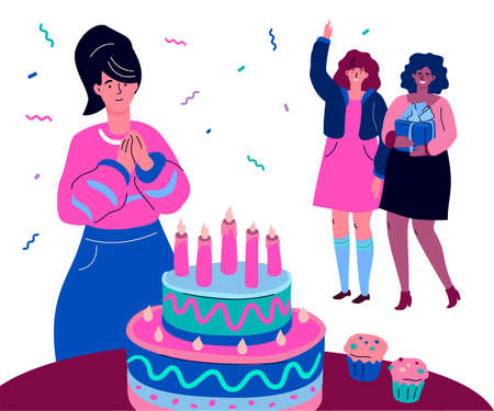 Happy birthday - modern colorful flat design style illustration. High quality composition with a smiling girl getting a surprise, ready to make a wish before a cake, her friends congratulating her