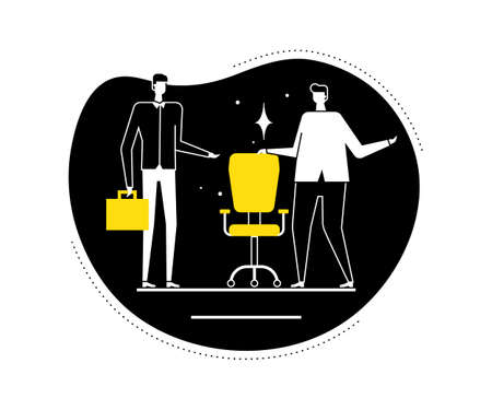 Available vacancy - flat design style vector illustration. Black, yellow and white composition with male HR managers searching for a candidate, new employee, showing the free chair, workplace