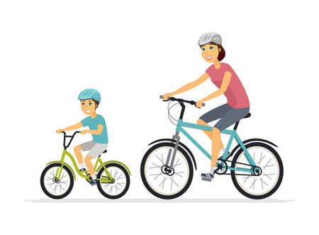 Mother and son cycling - cartoon people characters illustration on white background. Young smiling parent and her kid going on a ride on bicycles, having a good time together. Family concept